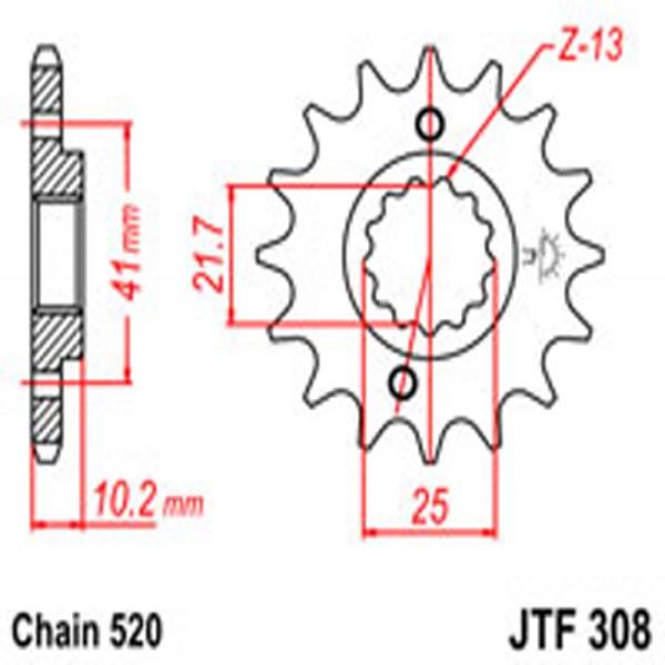 Jt Gear BOX Sprockets G/b 308-14T (345)
