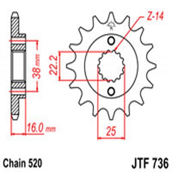 Jt Gear BOX Sprockets G/b 736-15 Ducati