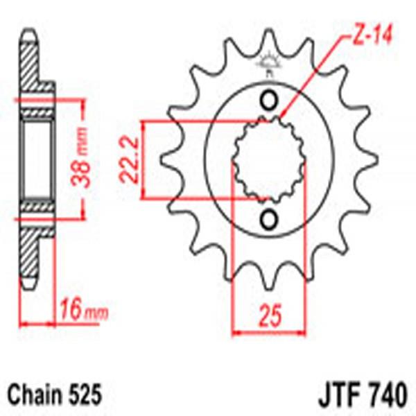 Jt Gear BOX Sprockets G/b 740-14 Ducati