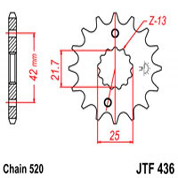 Jt Gear BOX Sprockets G/b 436/565-13T Suz/yam (438)