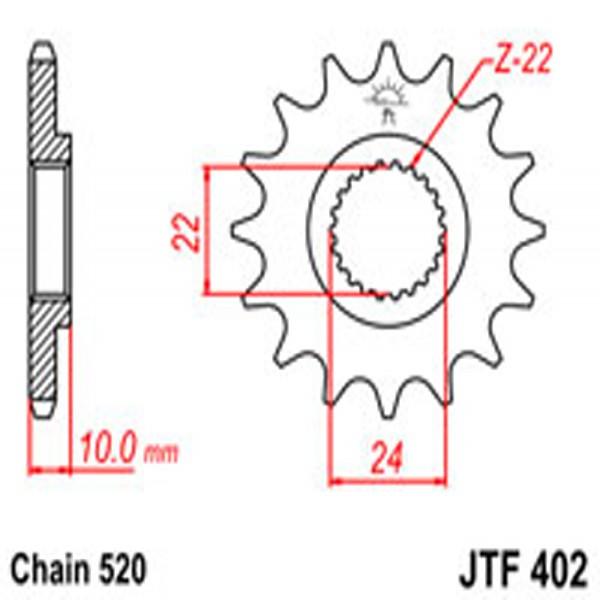 Jt Gear BOX Sprockets G/b 402-16T Bmw