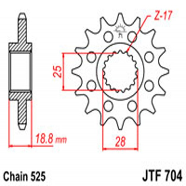 Jt Gear BOX Sprockets G/b 704-17T Aprilia/bmw