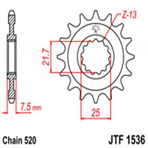 Jt Gear BOX Sprockets G/b 1536-16 Kaw