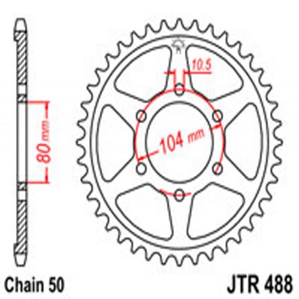 Jt Rear Sprockets R/w 488-43T Kaw
