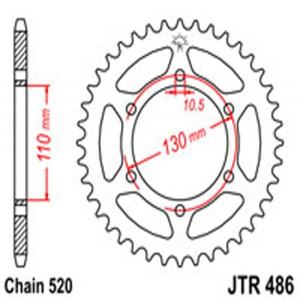 Jt Rear Sprockets R/w 486-43 Kaw (504)