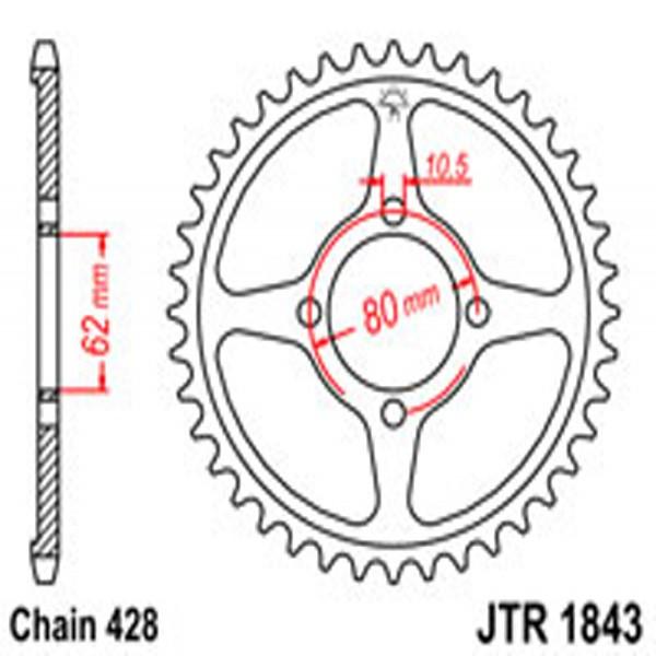 Jt Rear Sprockets R/w 1843-49 Yam