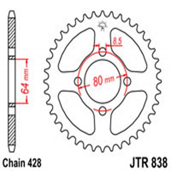 Jt Rear Sprockets R/w 838-43T Yam