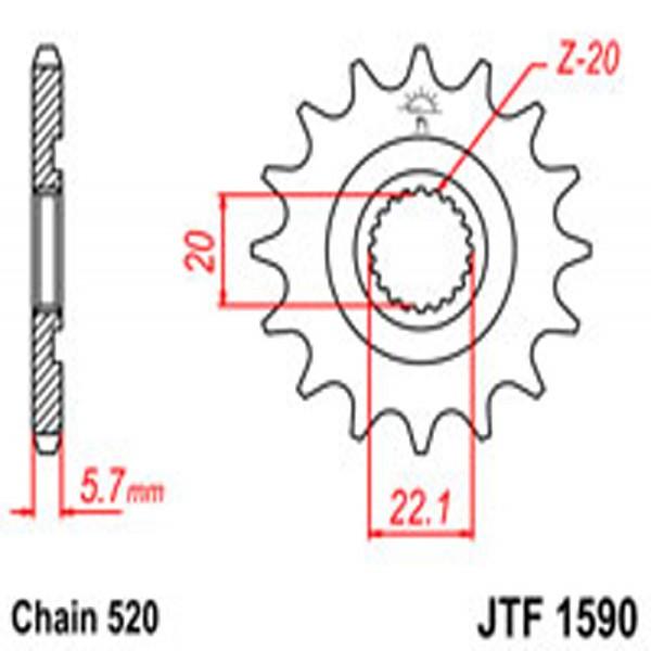 Jt Gear BOX Sprockets G/b 1590-14 Sc(2103)