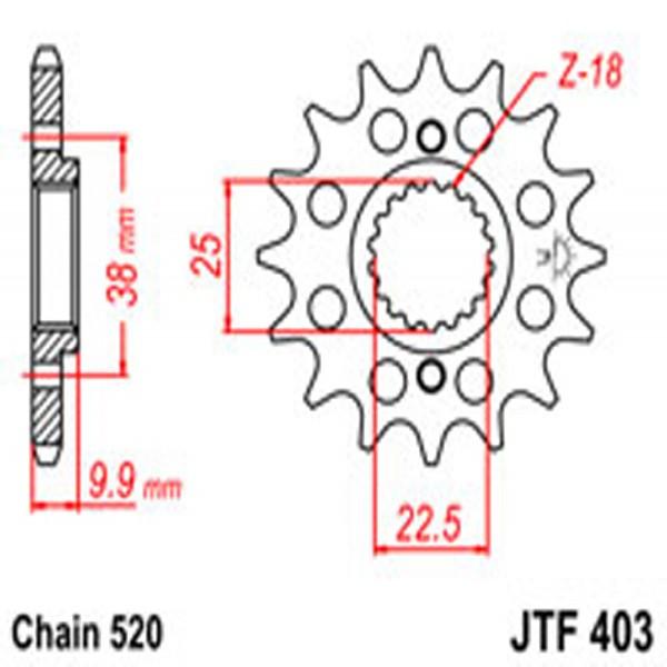 Jt Gear BOX Sprockets G/b 403-15