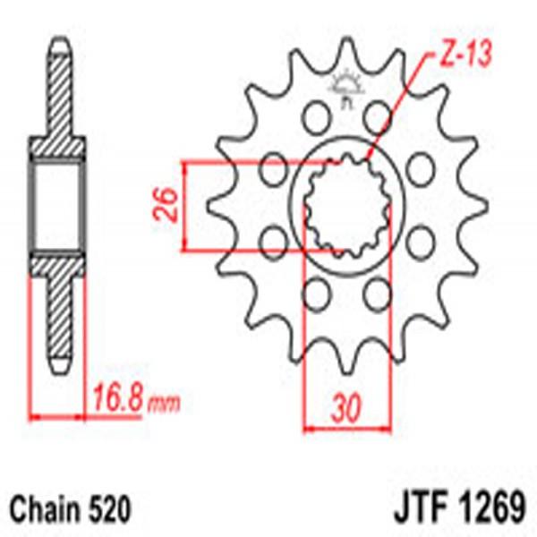 Jt Gear BOX Sprockets G/b 1269-16