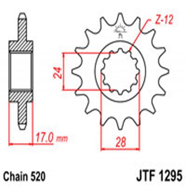 Jt Gear BOX Sprockets G/b 1295/295-15