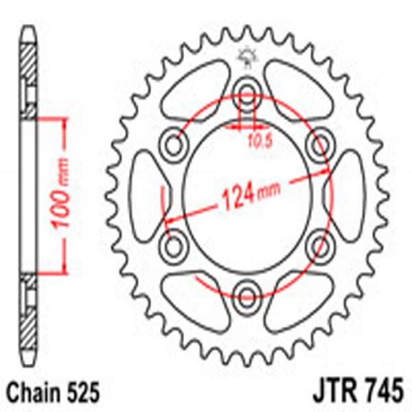Jt Rear Sprockets R/w 745-43 Ducati