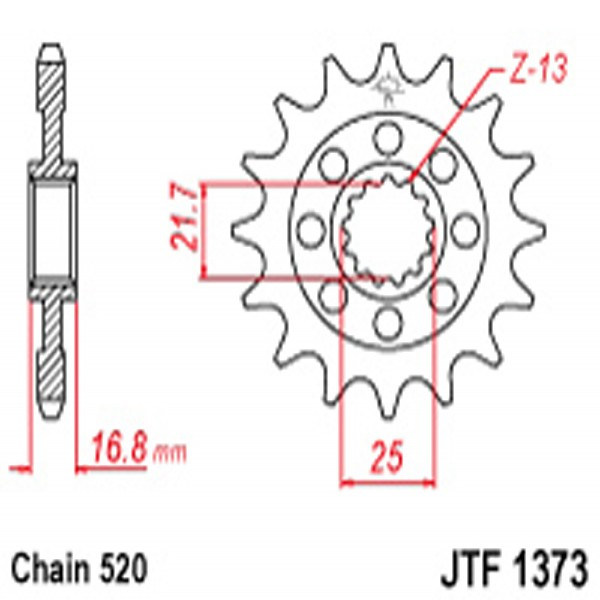 Jt Gear BOX Sprockets G/b 1373-16