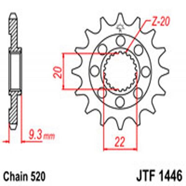 Jt Gear BOX Sprockets G/b 1446Sc-13 Kaw