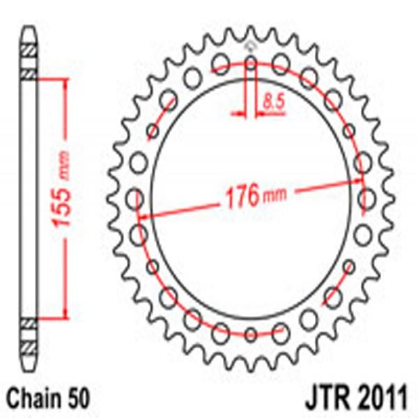 Jt Rear Sprockets R/w 2011-45 Tri (4392)