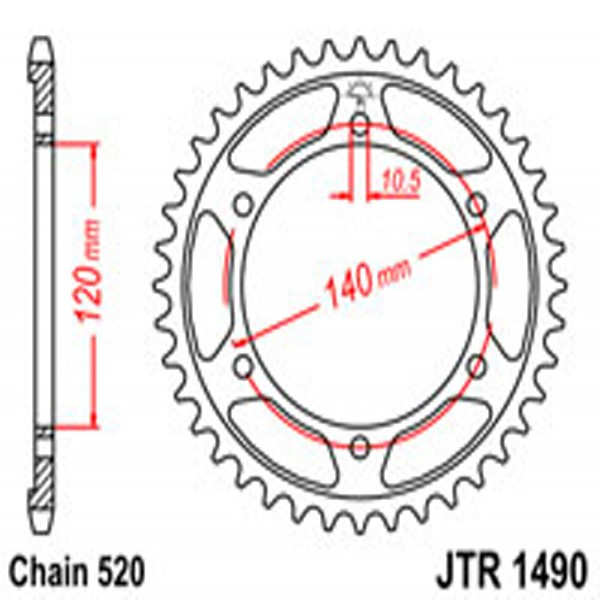 Jt Rear Sprockets R/w 1490-40 Kaw (475)