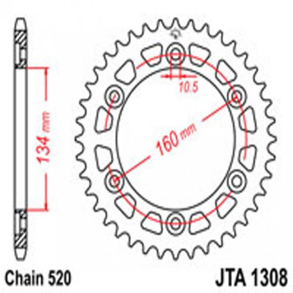 Jt Rear Sprockets R/w 1308-45 Alloy