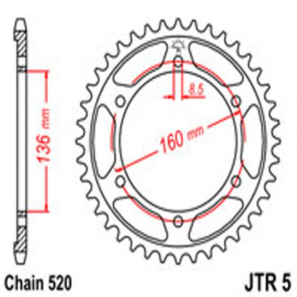 Jt Rear Sprockets R/w 5-44