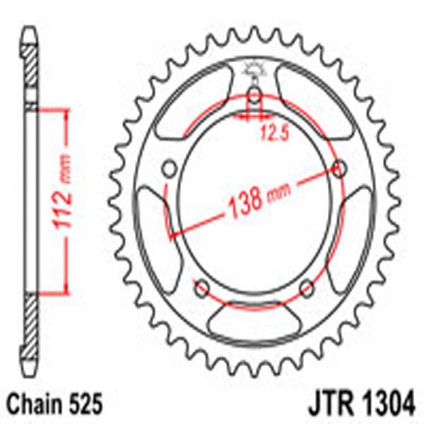 Jt Rear Sprockets R/w 1304-38 Hon (4357)
