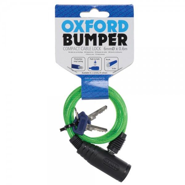 Oxford Bumper cable lock Green 6mm x 600mm