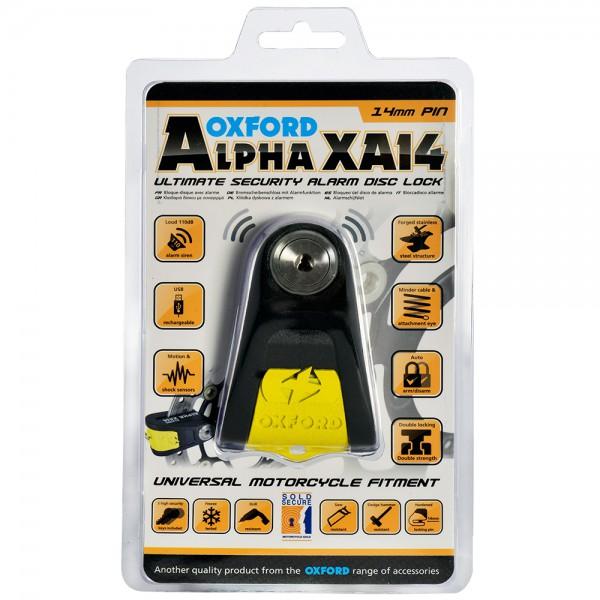 Oxford Alpha XA14 Alarm Disc Lock(14mm pin) Black/Yellow