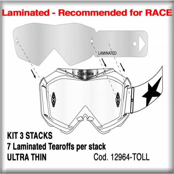 Ariete Goggle Tearoff Kit 12964-Toll [3 Stacks Of 7 Laminated]