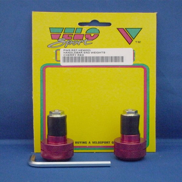 Velo Sport Handlebar End Weight-Red Pair [Hew005]