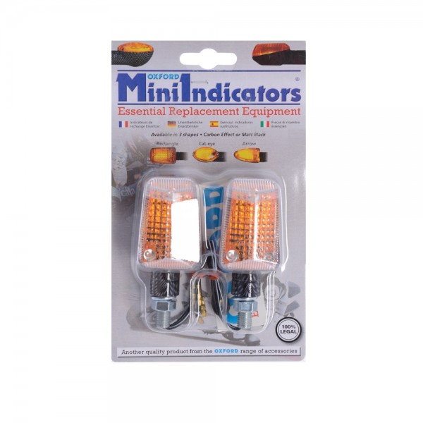 Oxford Mini Indicators CarbonShort Stem - Clear Lens