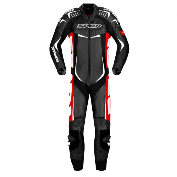 Spidi Gb Track Wind Pro Leather Suit Black & Red/wh