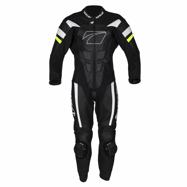Spada Leather Suit 1 Piece Curve Evo Black & White/flo