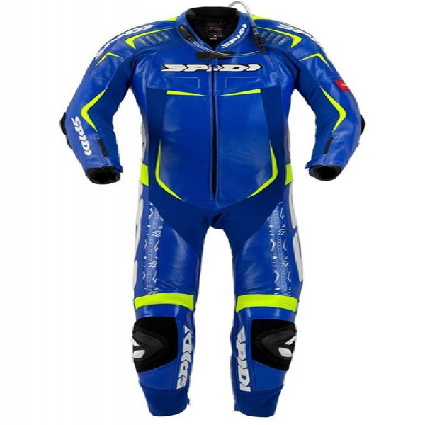 Spidi It Track Wind Replica Evo Leather Suit Blue & Yellow