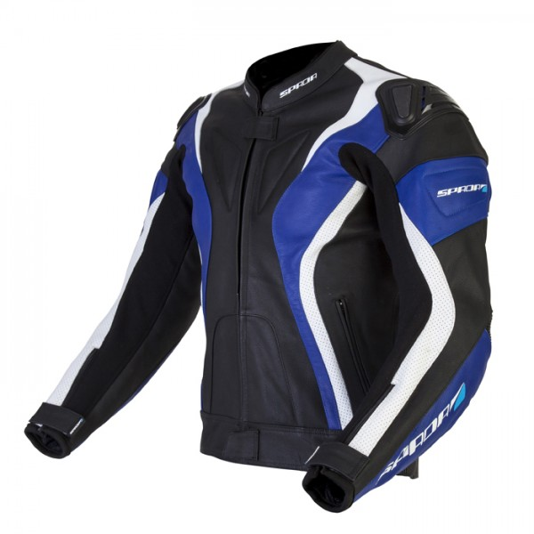 Spada Curve Leather Jacket Black & Blue & White