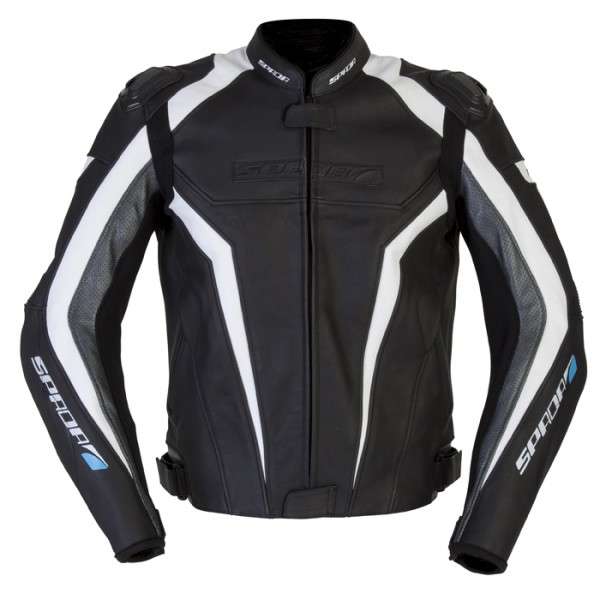 Spada Corsa Gp Leather Jacket Black & White/anth