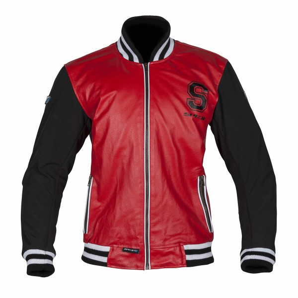 Spada Campus Leather Jacket Red & Black