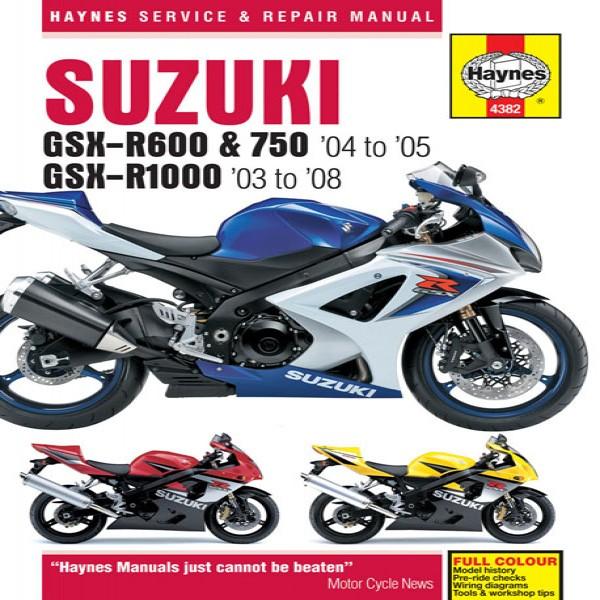 Haynes Manual  4382 Suz Gsx-R600,750 (04-05) + R1000 (03-08)