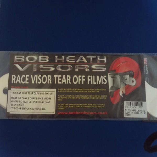 Bob Heath Tear Offs Clear Universal Inc Fittings Pack Of 10 [T001]