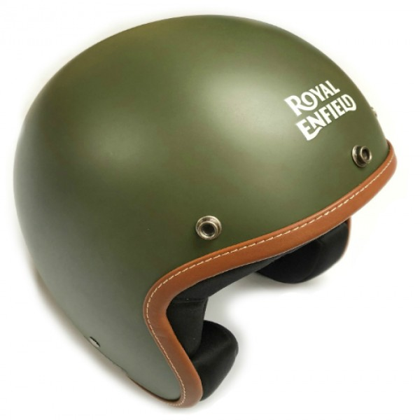 Royal Enfield Leather Edge Open Face Helmet Battle Green