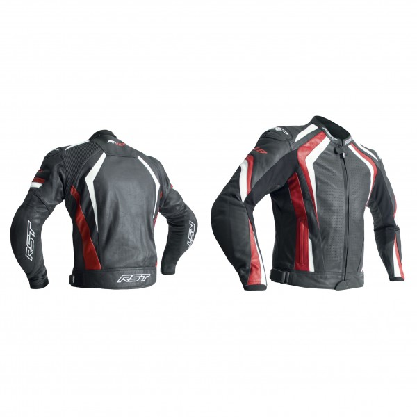 RST R-18 Mens Leather Jacket Black & Red