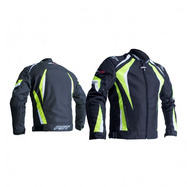RST R-18 Mens Textile Jacket Black & Fluo Yellow