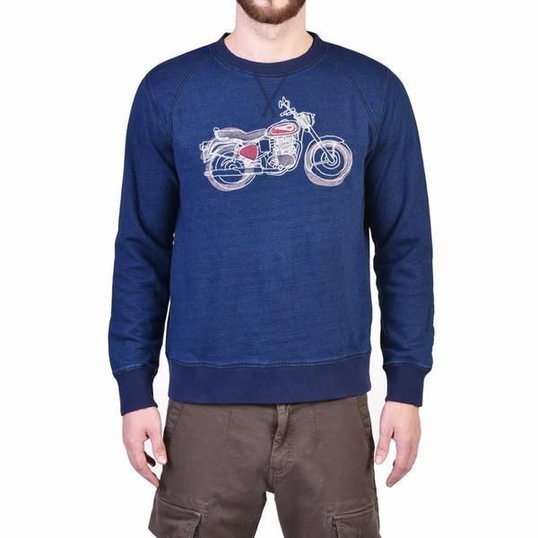 Royal Enfield Bullet Doodle Sweater Blue
