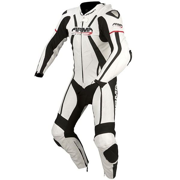 ARMR Moto Harada R One Piece Leather Suit - White / Black / Red