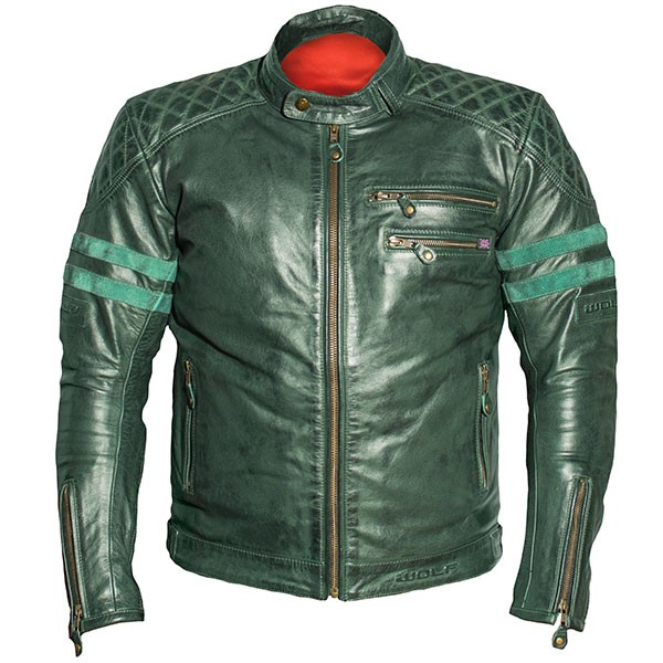 Wolf Bulit Leather Jacket - GREEN