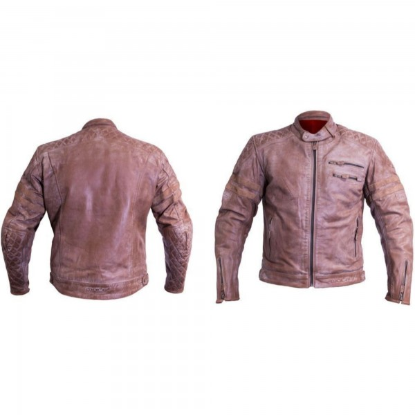 Wolf Bulit Leather Jacket - BROWN