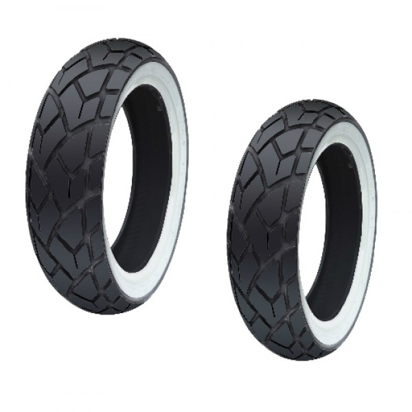 Royal Alloy Front & Rear White Wall Tyres (Pair) 110/70/12 & 120/70/12