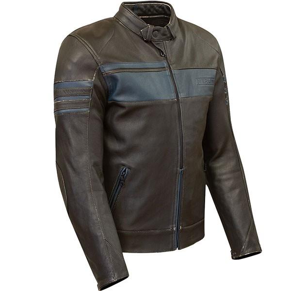 Merlin Holden Leather Jacket - Black / Blue
