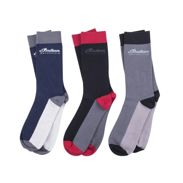 Indian Men's Mid-Calf Socks, 3 Pack, Black/Gray/Navy