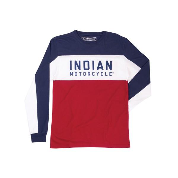 Indian Men's Long-Sleeve Color Block T-shirt