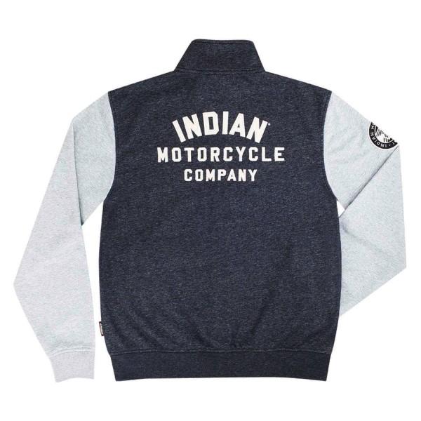 Indian Full-Zip Sweatshirt with Contrast Sleeves, Gray