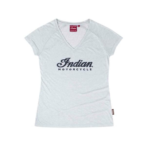 Indian Women's V-Neck Script Logo Sparkle T-Shirt, Silver