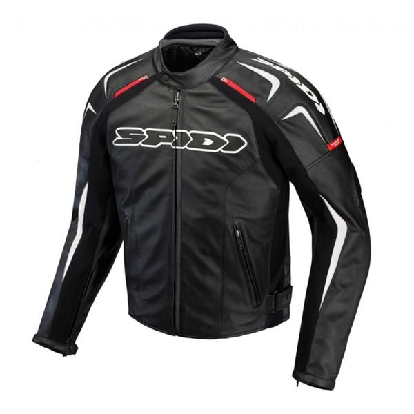 Spidi Track Leather Jacket-Black/White